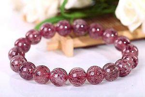【送料無料】ブレスレット アクセサリ― ストロベリーラウンドビーズブレスレット10mm rare 5a natural strawberry quartz crystal round beads bracelet gift bl9673