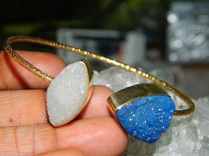 【送料無料】ブレスレット アクセサリ― イヤリングブレスレットエッジdruzy earring, druzy bracelet, gold plated jewelry, gold edge druzy jewelry