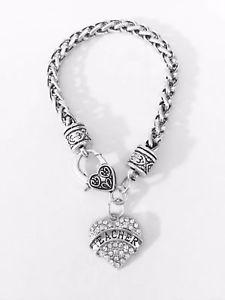 【送料無料】ブレスレット アクセサリ― クリスタルクリスマスブレスレットcrystal teacher heart christmas gift charm bracelet