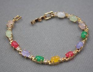 【送料無料】ブレスレット アクセサリ― aollyリンクブレスレット18cm6mm charm 6mm colorful heating jade oval bead with aolly link bracelet 18cm
