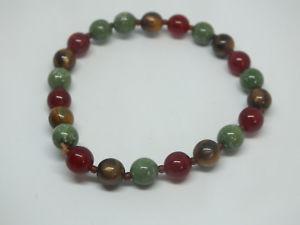 【送料無料】ブレスレット アクセサリ― ストレッチブレスレットブラウンセージプラスチックビーズワイドニースbeautiful stretch bracelet brown sage red plastic beads 14 wide nice