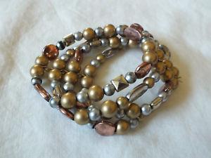 【送料無料】ブレスレット アクセサリ― ストレッチブレスレットゴールドシルバーカッパートーンプラスチックビーズスタンドbeautiful stretch bracelet gold silver copper tone plastic beads 4 stand 1 12