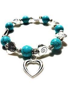【送料無料】ブレスレット アクセサリ― トルコジュエリーladies love heart turquoise color bead bracelet elegant fashion jewelry