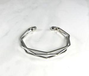 【送料無料】ブレスレット アクセサリ― カフス womens fashion jewelry layered hexagon cuff silver
