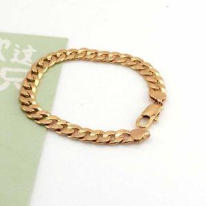 【送料無料】ブレスレット アクセサリ― イエローゴールドブレスレットリンクファッションジュエリー18k yellow gold filled charm bracelet 92chain 9mm curb link gf fashion jewelry