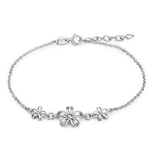 【送料無料】ブレスレット アクセサリ― ソリッドシルバーデイジーブレスレットsolid 925 silver daisy flower charm adjustable bracelet girls women jewelry gift