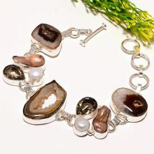 【送料無料】ブレスレット アクセサリ― ウィンドウエスニックファッションジュエリーブレスレットbrown window druzy pearl gemstone ethnic fashion jewelry bracelet sb1770