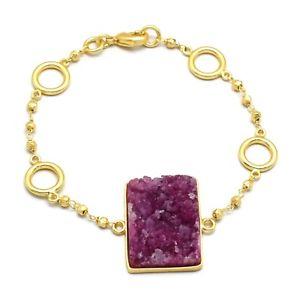 【送料無料】ブレスレット アクセサリ― イエローゴールドチェーンブレスレットハンドメイド22k yellow gold plated handmade drzuy gemstone with chain bracelets jewelry