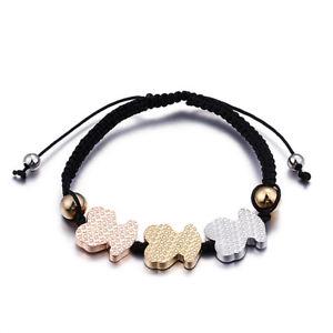 【送料無料】ブレスレット アクセサリ― ステンレススチールブレスレットロープwomen stainless steel bracelet three animals braided rope charm jewelry
