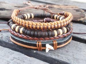 【送料無料】ブレスレット アクセサリ― レザーセットブレスレットカジュアルカフパンク1 set pu leather bracelet casual wrist cuff punk boho braided adjustable men 02