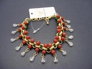 【送料無料】ブレスレット アクセサリ― ドルビーズビーズブレスレット20 *w stones amp; beads* natural red beaded bracelet wbriolette dangles