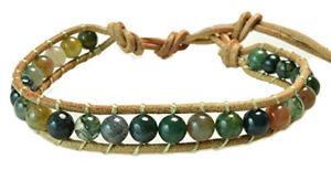 【送料無料】ブレスレット アクセサリ― ビーズシングルラップブレスレットマルチカラーミリbeaded leather single wrap bracelet multicolor 6mm agate gemstone