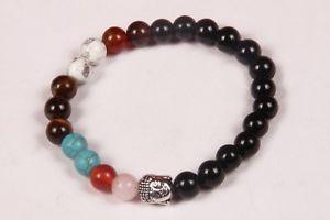 【送料無料】ブレスレット アクセサリ― チャクラビーズゴムブレスレットビーズブレスレットビーズ7 chakra beads with budha metal bead rubber bracelet,beaded bracelet,