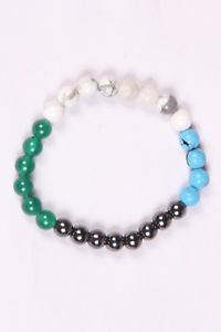 【送料無料】ブレスレット アクセサリ― グリーンオニキスターコイズラバーブレスレットビーズブレスレット listinghematite,green onyx,turquoise and howlite rubber bracelet,round beads bracelet