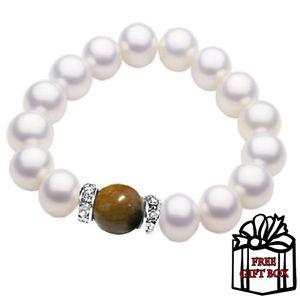 【送料無料】ブレスレット アクセサリ― ホワイトパールブレスレットストレッチボックスfreshwater white pearl charm bracelet stretch biege stone cz free gift box
