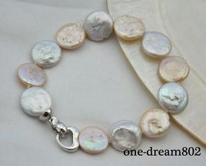 【送料無料】ブレスレット アクセサリ― コインホワイトピンクブレスレット8 15mm coin white pink freshwater pearl bracelet