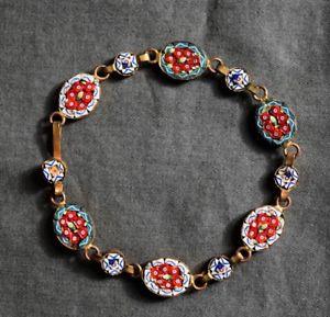 【送料無料】イタリアン ブレスレット ブレスレットマイクロイタリーancien bracelet en micro mosaque et laiton italie longueur 19 cm
