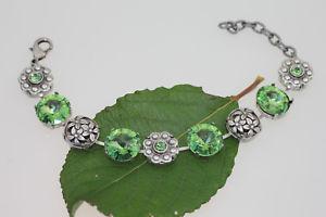 【送料無料】イタリアン ブレスレット カフフラワーグリーンペリドットスワロフスキーefsa bracciale fiore peridot verde 1122 14mm e 1088 ss19 swarovski r cristalli