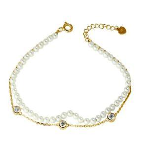 【送料無料】イタリアン ブレスレット スターリングシルバーパールdonna argento sterling 925 placcato oro doppio filo sintetico perla