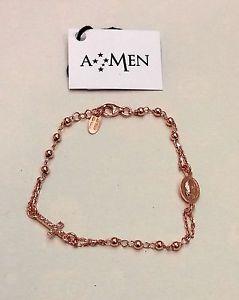 【送料無料】イタリアン ブレスレット アーメンカフシルバーピンクamen bracciale argento dorato rosa rosario brorz3