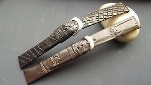 【送料無料】イタリアン ブレスレット ブレスレットクロコダイルノワールマロンbracelet montre en crocodile en 17mm, au choix noir ou marron