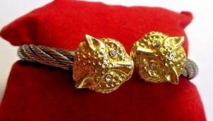 【送料無料】イタリアン ブレスレット メタルブレスレットアルジェントビンテージゴーrare lgant bracelet rigide couleur argent panthre or bijou vintage cristaux