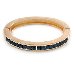 【送料無料】イタリアン ブレスレット オーストリアクリスタルブレスレットplaccato oro blu scuro cristallo austriaco bracciale in magnetico ovale 18cm l