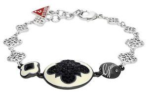 【送料無料】イタリアン ブレスレット メタルシルバーブラックカフguess bracciale da donna metallo argentonero ubb81192