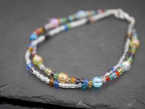 【送料無料】イタリアン ブレスレット ガラスオリジナルシルバーブレスレットpi bracciale con originali argento perle in vetro colorato