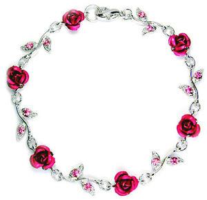 【送料無料】イタリアン ブレスレット スワロフスキークリスタルピンククリスマスカフswarovski cristallo rosa acceso fiore floreale sposa matrimonio bracciale natale