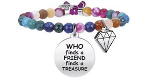 【送料無料】イタリアン ブレスレット ブレスレットnuova inserzionekidult bracciali agata multicolor who finds a friend finds a treasure 731330