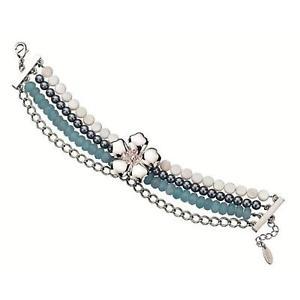 【送料無料】イタリアン ブレスレット マルチストランドフラワーブレスレットfiorelli donna multi strand silvertone fiore braccialetto 8