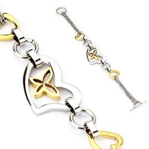 【送料無料】イタリアン ブレスレット スチールリンクシルバーブレスレットcoolbodyart donna bracciale in acciaio a maglie argento con cuore e schmet
