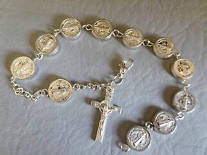 【送料無料】イタリアン ブレスレット ブレスレットクロワサンブノワbracelet dizainier argente mdaille religieuse croix st benoit sentia mvniamvr