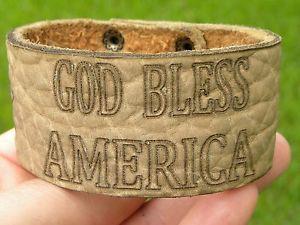 【送料無料】イタリアン ブレスレット スキンカフアメリカカスタマイズpersonalizza bracciale god bless america sull bisonte pelle felice 4 th of july