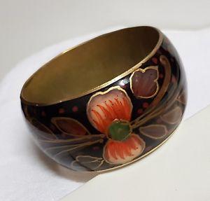 【送料無料】イタリアン ブレスレット ビンテージブレスレットマンシェットacien bijou vintage bracelet manchette laiton maill floral multicolore 150n