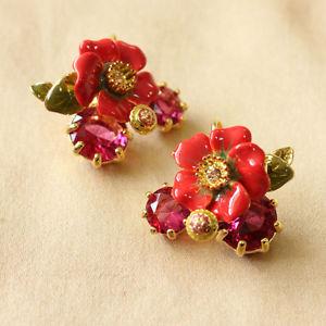 【送料無料】イタリアン ブレスレット イヤリングエナメルピンククリスタルorecchini a monachella fiore smalto rosso cristallo rosa originale matrimonio l6