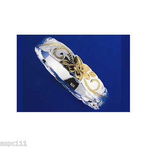 【送料無料】イタリアン ブレスレット シルバーハワイアンメタルブレスレットプリンセスプルメリアスクロールargento 925 hawaiano bracciale rigido principessa plumeria scorrere forma 6mm