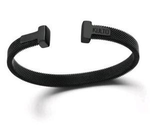 【送料無料】イタリアン ブレスレット カフスチールメッシュブラックkulto bracciale mesh acciaio nero espandibile kkman44