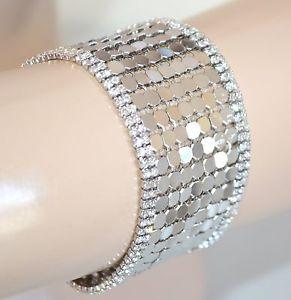 【送料無料】イタリアン ブレスレット カフスタイリッシュシルバーパーティbracciale donna argento elegante strass cristalli da cerimonia party pulsera e08