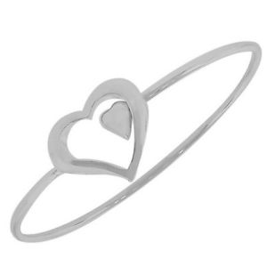 【送料無料】イタリアン ブレスレット スターリングシルバーダブルハートクラシックブレスレットargento sterling doppio cuore love classico da donna bracciale rigido