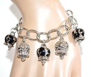 【送料無料】イタリアン ブレスレット カフシルバーブラックペンダントリングエナメルブレスレットbracciale donna argento ciondoli neri anelli lucidi smaltati strass bracelet a62
