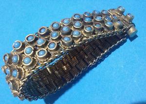 【送料無料】イタリアン ブレスレット ビンテージブレスレットエスニックカボションvintage bracelet ethnic cabochon opaline bleue mtal argent