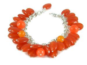 【送料無料】イタリアン ブレスレット オレンジペンダントブレスレットbracciale charms con ciondoli di giada arancione