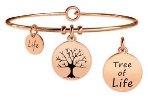【送料無料】イタリアン ブレスレット スチールブレスレットゴールドピンクkidult bracciali acciaio gold pink nature albero della vita 731026
