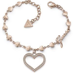 【送料無料】イタリアン ブレスレット カフバラguess jewels bracciale rose con cuore e swarovsky ubb28002s nuovo
