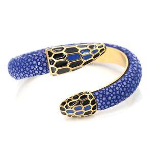 【送料無料】イタリアン ブレスレット メタルブレスレットノワールステンレスbracelet rigide ouvert serpent cuir noir acier inox plaqu or 18k email bleu trz