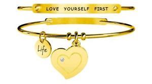 【送料無料】イタリアン ブレスレット スチールブレスレットゴールドkidult bracciali acciaio gold love cuoreautostima 231654