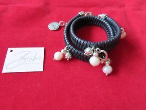 【送料無料】イタリアン ブレスレット ビビビーズラップパールブランドラベルbibi bijoux neri in pelle wrap con perline amp; pearlnuovissimo con etichetta