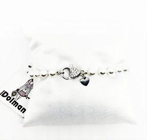 【送料無料】イタリアン ブレスレット ドルマンブレスレットシルバーハートアートラッチdolman bijoux  bracciale di perle bianche con chiusura a cuore argentata art